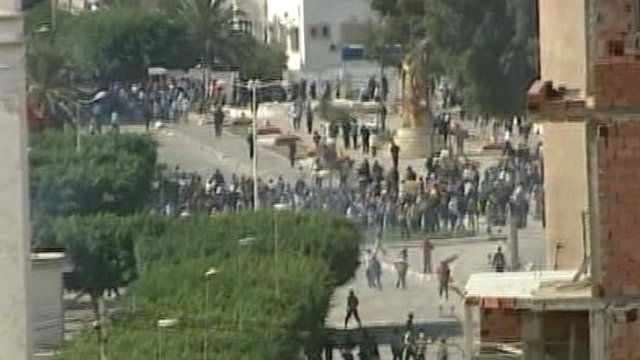 Police use tear gas on crowds gathered in central Tunis