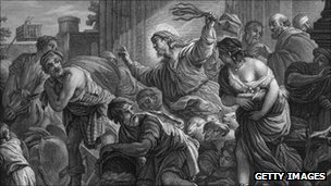 Illustration of the Biblical story of Jesus in the temple