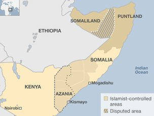 Map of Somalia's disputed areas