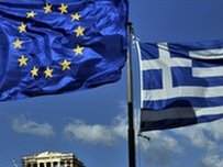 Greek and European Union flags