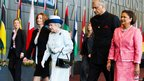 (From left) Australian Prime Minister Julia Gillard, Queen Elizabeth II, Commonwealth Secretary-General His Excellency Kamalesh Sharma, and Prime Minister of Trinidad and Tobago, the Honourable Kamla Persad Bissessar