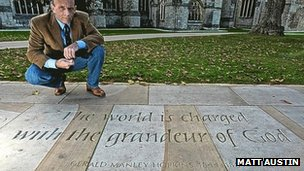 Dr Mack and the inscription outside Exeter Cathedral: Pic Matt Austin