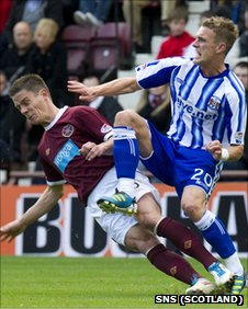 Ian Black fouls Dean Shiels