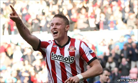 Connor Wickham celebrates his first Premier League goal against Aston Villa
