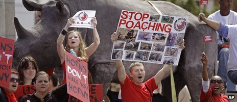 Protesters gather outside Parliament on National Rhino Day, September, 2011 file