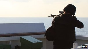 Armed guard on board a merchant vessel