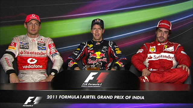 Jenson Button, Sebastian Vettel and Fernando Alonso