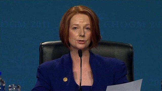 Australian PM Julia Gillard talks at the Commonwealth Heads of Government meeting