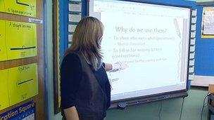 Teacher at white board in classroom