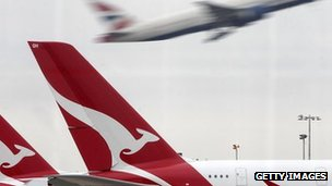 Grounded Qantas flights at Heathrow, 30 Oct
