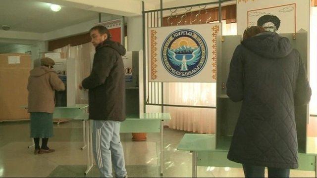 Voters in Kyrgyzstan