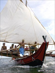 Yapese men on boat