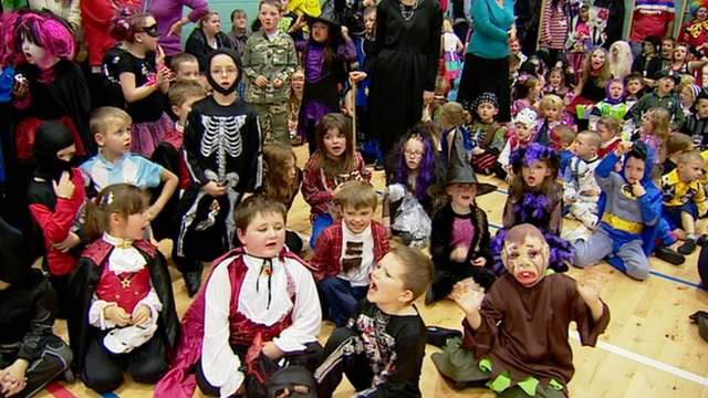 Children in fancy dress for Halloween