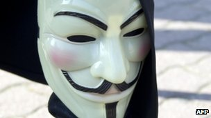 A Guy Fawkes mask associated with the &quot;Anonymous&quot; group