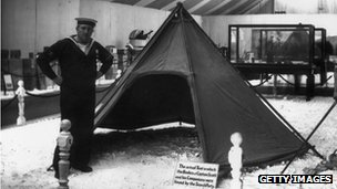 "Scott's tent on display in 1913. Sign reads: ""The actual Tent in which the Bodies of Captain Scott and his Companions were found by the Search Party."""