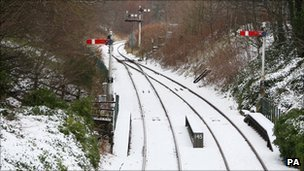 Snow on tracks at Huntly in Aberdeenshire