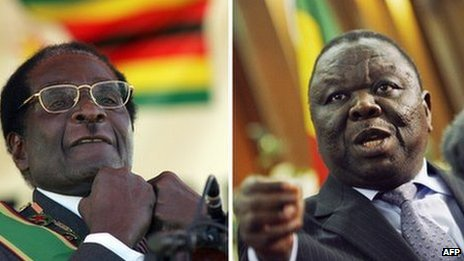 Robert Mugabe and Morgan Tsvangirai (archive shot)