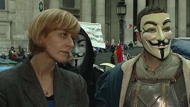 Protesters outside St Paul's
