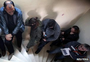 Workers queuing in Greece
