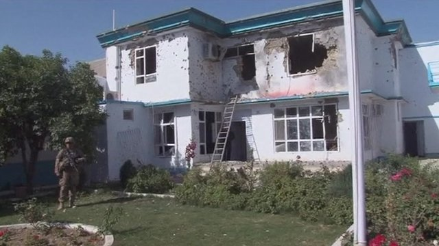 Damaged building following suicide car bomb attack in Kandahar