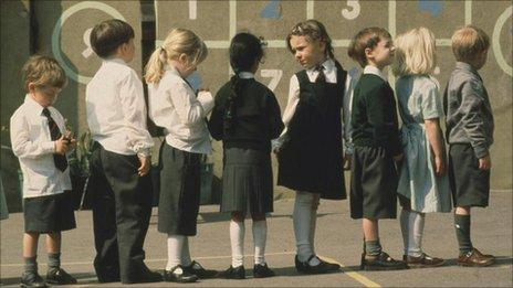 children standing in a line