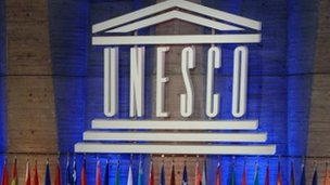 unesco logo lit up at general conference