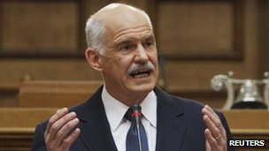 Greek PM Papandreou sets stage for Greeks to resist foreign austerity