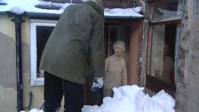 Elderly people during a winter