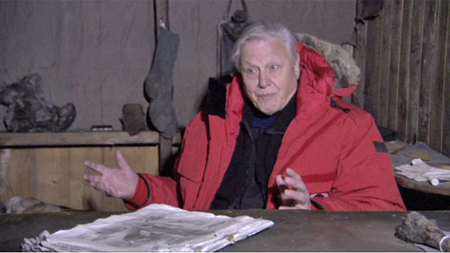 David Attenborough in Scott's hut