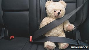 Teddy bear with a seatbelt on