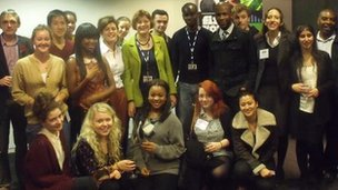 Project sponsor and head of BBC News Helen Boaden celebrates the launch of the 2012 Commnity Reporters scheme with its 18 new trainees