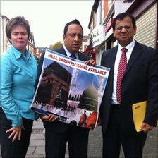 Hannah Davis, Mohammed Tariq ( both Trading Standards ) and Khalid Pervez from the British Association of Hajj Pilgrims