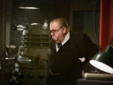 Ian McNeice and Winston Churchill in Dr Who: Victory of the Daleks