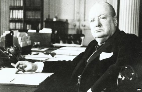 Portrait taken by Cecil Beaton, of Winston Churchill in his cabinet room at No 10 Downing Street