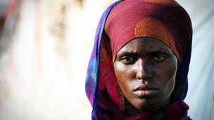 Woman at a a makeshift camp in Galkayo, Somalia
