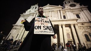 Protester outside the cathedral