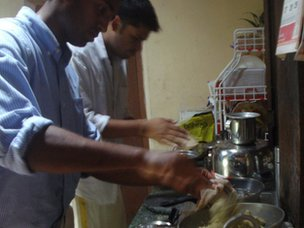 Tushar Vashisht and Matthew Cherian cooking
