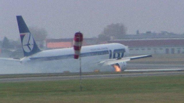 Plane skids on runway