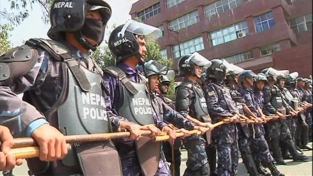 Police line up in Nepal