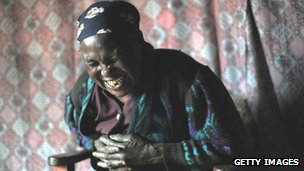 Laughing Kenyan woman