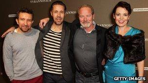 The cast of Tyrannosaur (Eddie Marsan, Paddy Considine, Peter Mullan and Olivia Colman)