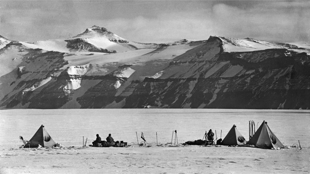 The camp at Mount Buckley, taken on return journey from South Pole - from David Wilson&#039;s book The Lost Photographs of Captain Scott (Little, Brown)