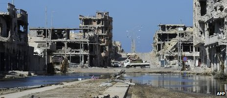 Destroyed buildings in Sirte, Libya (28 October 2011)