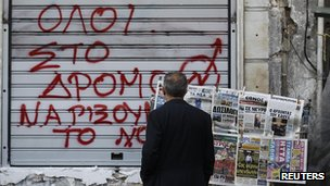 Athens graffiti/newspapers