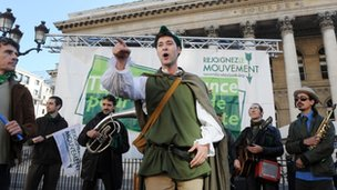 Activists in France calling for a Tobin, or Robin Hood, tax to be introduced