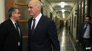 George Papandreou goes to emergency cabinet meeting in Athens. 1 Nov 2011