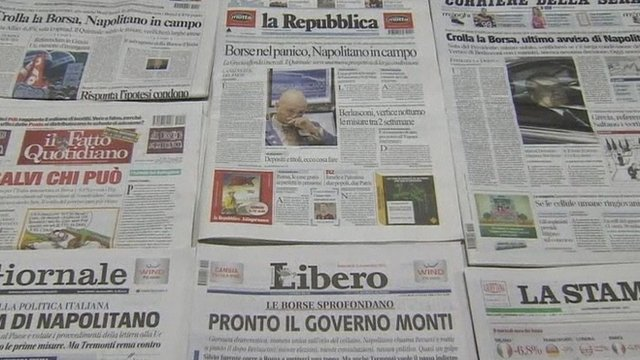 Front pages of Italian Newspapers