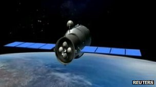An artist's impression of Tiangong-1 space module