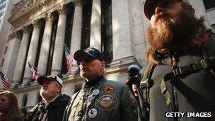 Military veterans rally outside the New York Stock Exchange on 2 November 2011