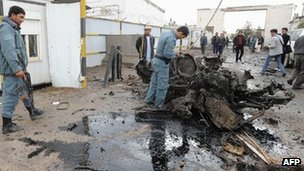 Car bomb wreckage in Herat, Afghanistan, 3 Nov